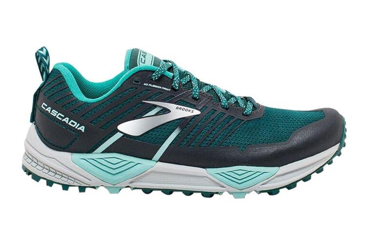 Brooks Women's Cascadia 13 Running Shoe (Teal/Aqua/Grey, Size 8 US)