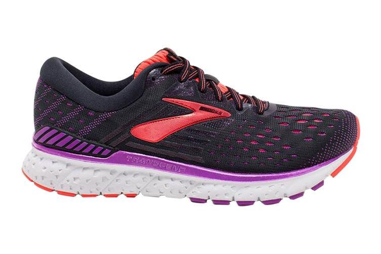 Brooks Women's Transcend 6 Running Shoe (Black/Purple/Coral, Size 6 US)