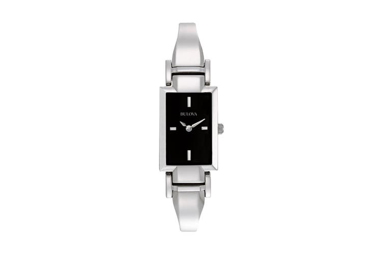Bulova Ladies' 18 x 7mm Analog Quartz Classic Watch with Rectangular Dial & Adjustable-link Band - Stainless Steel/Black (96L138)