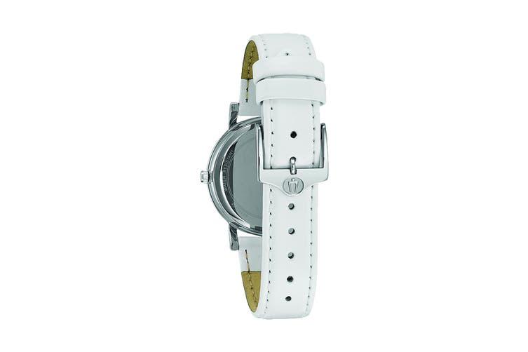 Bulova Ladies' 32mm Analog Watch with Swarovski Crystals & Leather Strap - White/Pearl (96L245)
