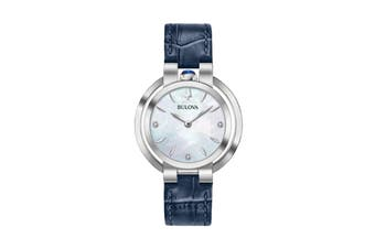 Bulova Ladies' 35mm Analog Watch with Diamonds & Embossed Leather Strap - Blue/Pearl (96P196)