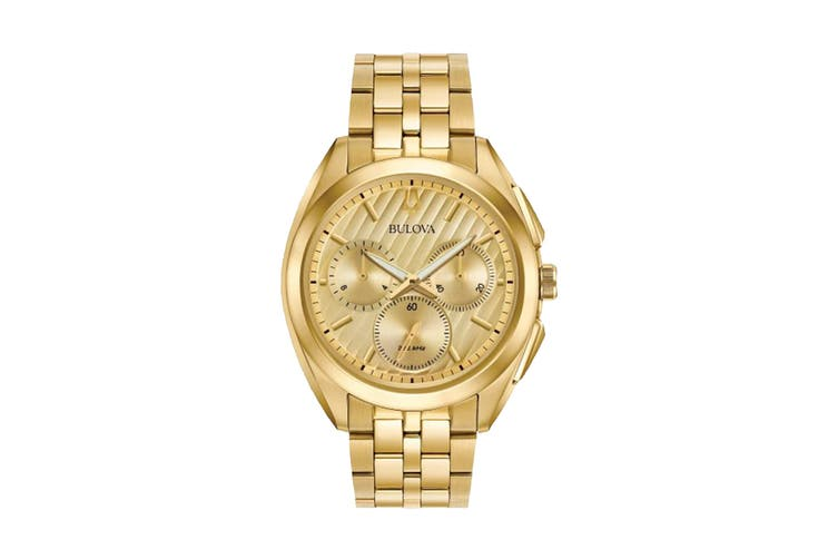 Bulova Men's 43mm Analog High Performance Quartz Curv Chronograph Watch - Gold-Tone Stainless Steel (97A125)