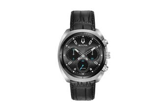 Bulova Men's 43mm Analog High Performance Quartz Curv Chronograph Watch with Alligator Grain Leather Strap - Black/Stainless Steel (98A155)