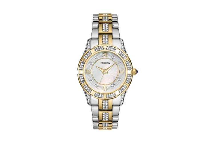 Bulova Ladies' 30.4mm Analog Watch with Swarovski Crystals - Two-Tone Stainless Steel/Pearl (98L135)