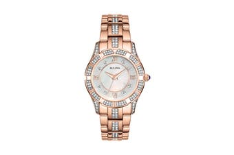 Bulova Ladies' 30.5mm Analog Watch with Swarovski Crystals - Rose Gold/Pearl (98L197)