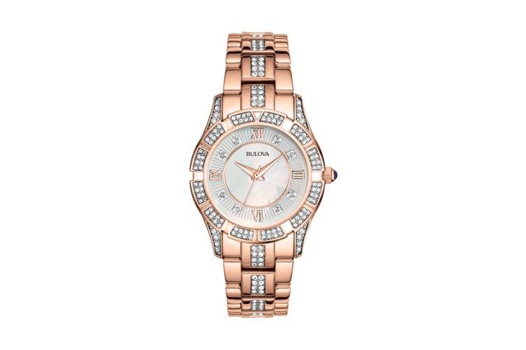 Bulova Ladies' 30.5mm Analog Watch with Swarovski Crystals - Rose Gold/Pearl (98L197)