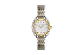 Bulova Ladies' 28mm Analog Quartz Watch with Diamonds - Two-Tone Stainless Steel (98R229)