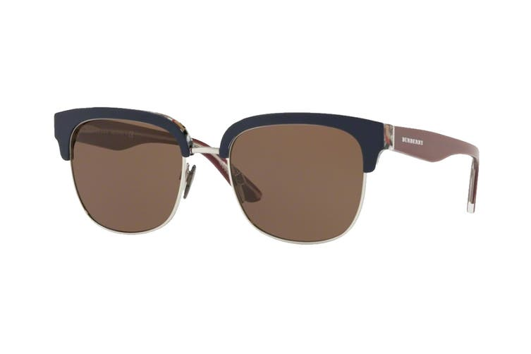 Burberry 0BE4272 Sunglasses (Top Blue On Check/Silver) - Brown