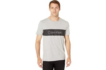 Calvin Klein Men's Iconic Block Logo Tee Tee (Light Grey Heather, Size 2XL)