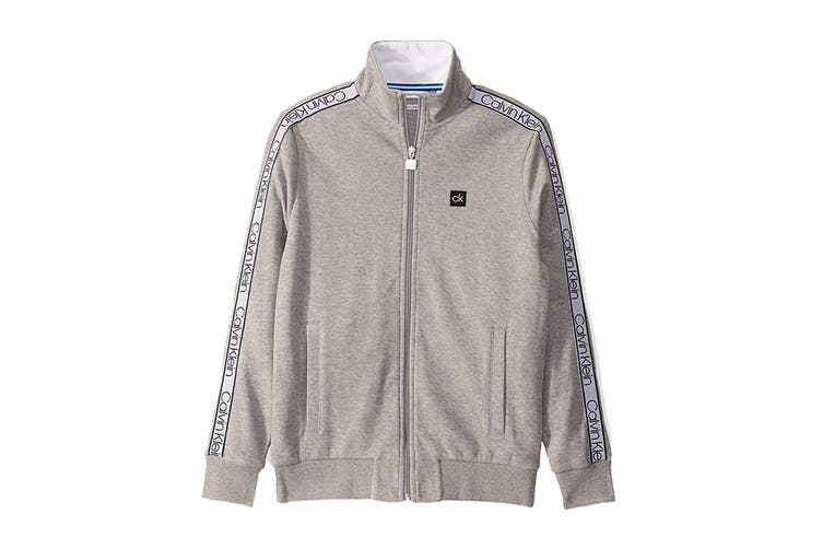 Calvin Klein Men's Athleisure Logo Band Jacket (Heroic Grey Heather, Size L)