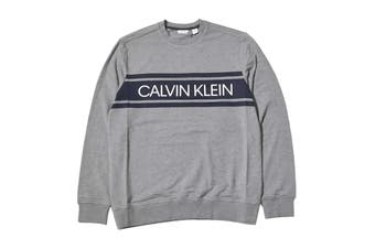 Calvin Klein Men's Long Sleeve Color Blocked Pu Jumper (Med Grey Heather, Size 2XL)