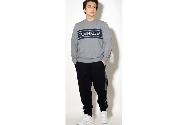 Calvin Klein Men's Long Sleeve Color Blocked Pu Jumper (Med Grey Heather, Size XL)