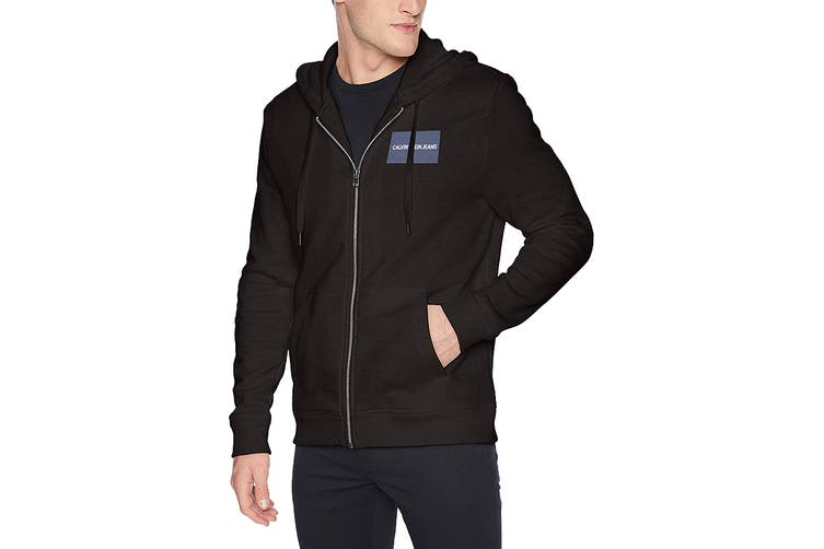 Calvin Klein Men's Edi Box Logo Full Zip Jacket (Black, Size M)