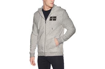 Calvin Klein Men's Edi Box Logo Full Zip Jacket (Med Charcoal, Size XL)