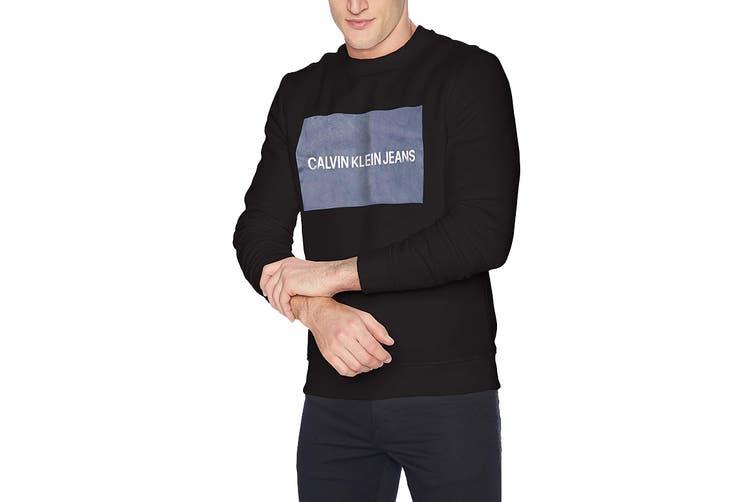 Calvin Klein Men's Edi Box Logo Crewneck Jumper (Black, Size M)