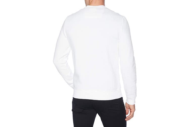 Calvin Klein Men's Edi Box Logo Crewneck Jumper (Brilliant White, Size L)