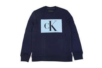 Calvin Klein Men's Logo Pullover Sweatshirt (Peacoat, Size L)