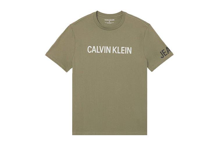 Calvin Klein Men's Crew Neck T-Shirt (Dusty Olive, Size L)