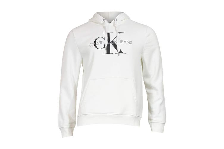 Calvin Klein Men's Monogram Logo Fleece Jumper (Brilliant White, Size M)