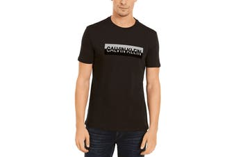 Calvin Klein Men's Split Calvin Box Tee (Black, Size S)