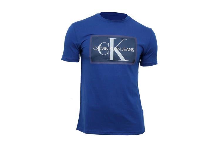 Calvin Klein Men's Box Monogram Mesh Tee Tee (Sodalite Blue, Size 2XL)
