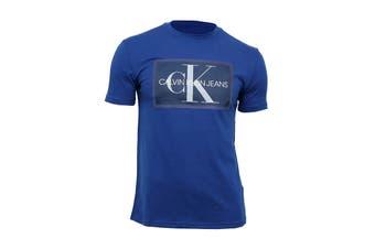 Calvin Klein Men's Box Monogram Mesh Tee Tee (Sodalite Blue, Size L)