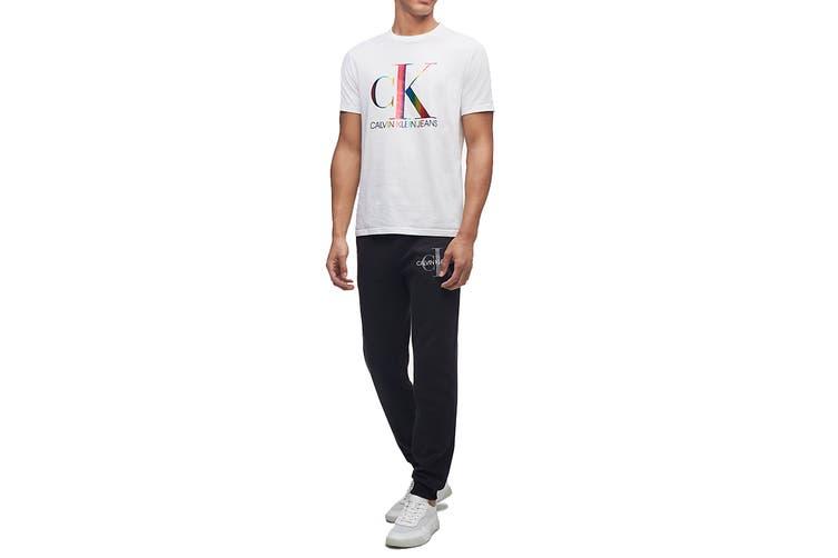 Calvin Klein Men's Monogram Pride Tee (Brilliant White, Size 2XL)