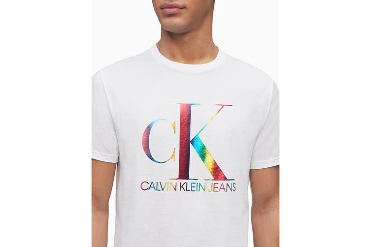 Calvin Klein Men's Monogram Pride Tee (Brilliant White, Size S)