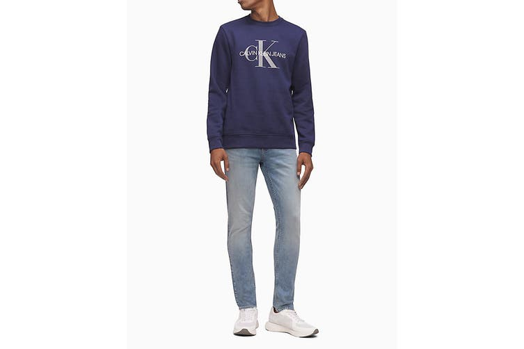 Calvin Klein Men's Monogram Logo Crew Neck Long Sleeve T-Shirt (Navy, Size S)