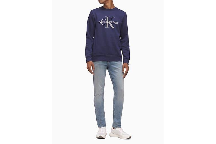 Calvin Klein Men's Monogram Logo Crew Neck Long Sleeve T-Shirt (Navy, Size XL)