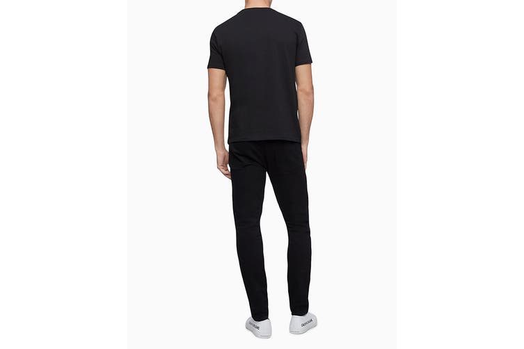 Calvin Klein Men's Monogram Logo Crew Neck T-Shirt (Black, Size XS)