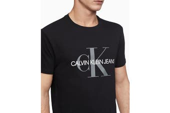Calvin Klein Men's Monogram Logo Crew Neck T-Shirt Black