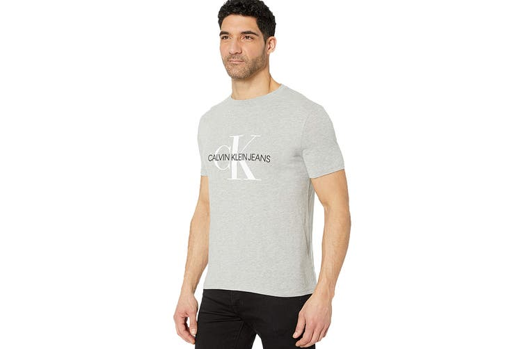 Calvin Klein Men's Monogram Crew Tee (Light Grey Heather, Size XL)