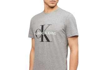 Calvin Klein Men's Monogram Logo Crew Neck T-Shirt (Grey, Size XS)