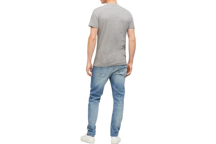 Calvin Klein Men's Monogram Logo Crew Neck T-Shirt (Grey, Size XS)