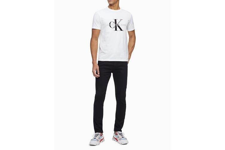 Calvin Klein Men's Monogram Logo Crew Neck T-Shirt (Brilliant White, Size XL)