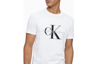 Calvin Klein Men's Monogram Logo Crew Neck T-Shirt (Brilliant White, Size XS)
