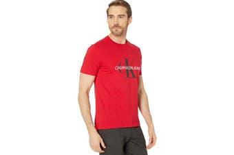 Calvin Klein Men's Monogram Crew Tee (Tango Red, Size XL)