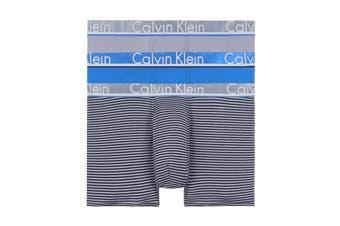 Calvin Klein Men's Comfort Microfiber Trunk (Grey Shadow/Grey Shadow/Black Stripe/Crater Lake) - 3 Pack