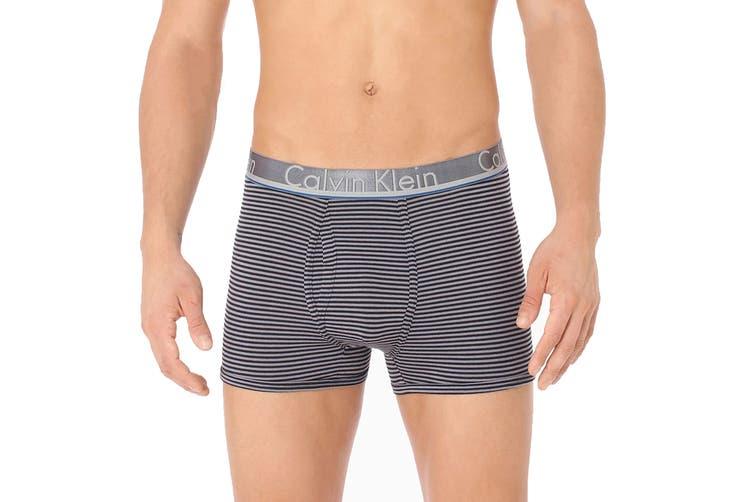 Calvin Klein Men's Comfort Microfiber Trunk Underwear (Grey Shadow/Grey Shadow/Black Stripe/Crater Lake, Size XL) - 3 Pack