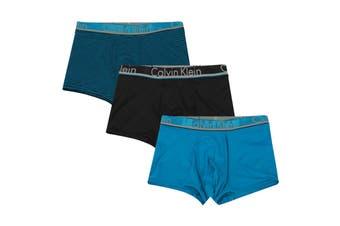 Calvin Klein Men's Comfort Microfiber Trunk (Blue Topaz/Blue Topaz/Black Stripe/Black) - 3 Pack