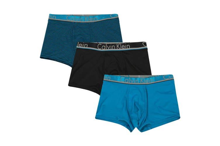 Calvin Klein Men's Comfort Microfiber Trunk Underwear (Blue Topaz/Blue Topaz/Black Stripe/Black, Size L) - 3 Pack