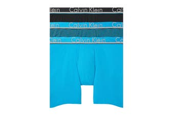 Calvin Klein Men's Comfort Microfiber Boxer Brief Underwear (Blue Topaz/Blue Topaz/Black Stripe/Black, Size M) - 3 Pack