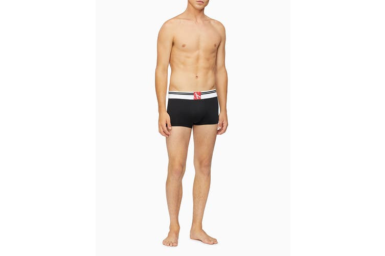 Calvin Klein Men's Sock Waistband Low Rise Trunk Underwear (Black, Size L)