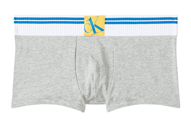 Calvin Klein Men's Sock Waistband Low Rise Trunk Underwear (Grey Heather, Size S)