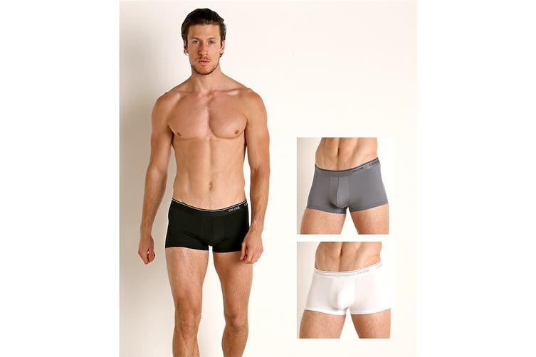 Calvin Klein Men's Micro Low Rise Trunk Underwear (White/Black/Grey Sky, Size L) - 3 Pack