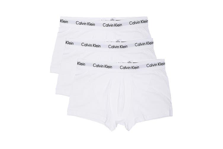 Calvin Klein Men's Cotton Stretch Low Rise Trunk Underwear (White, Size S) - 3 Pack