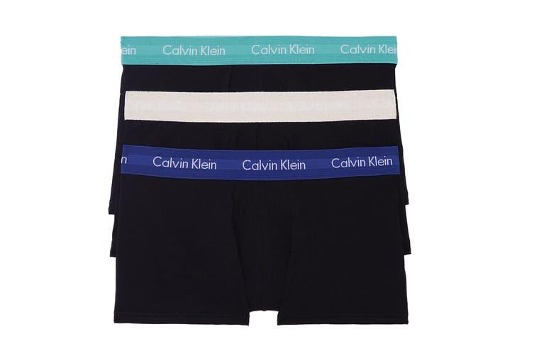 Calvin Klein Men's Core Plus Cotton Stretch Low Rise Trunk Underwear (Black Bodies w/ Twilight/Light Grey Heather/Sharp Blue, Size XL) - 3 Pack