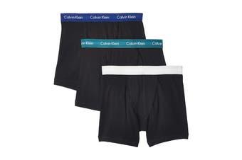 Calvin Klein Men's Core Plus Cotton Stretch Boxer Brief Underwear (Black Bodies w/ Twilight/Light Grey Heather/Sharp Blue, Size XL) - 3 Pack