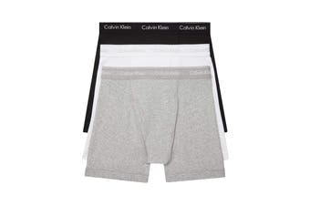 Calvin Klein Men's Cotton Classics Boxer Brief (Grey Heather/White/Black) - 3 Pack